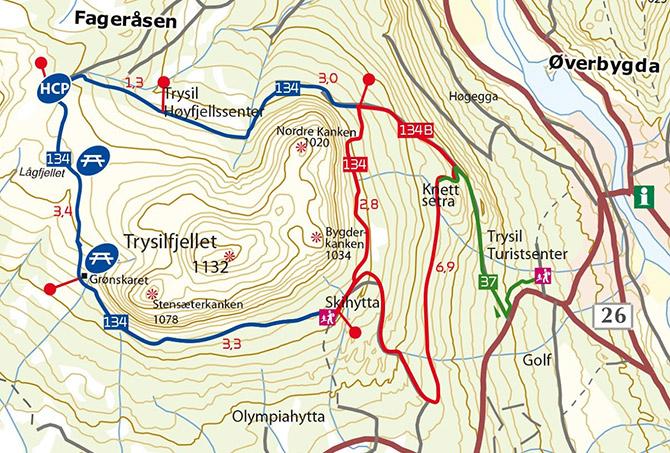 kart over trysil Fjellrunden   Trysil kart over trysil